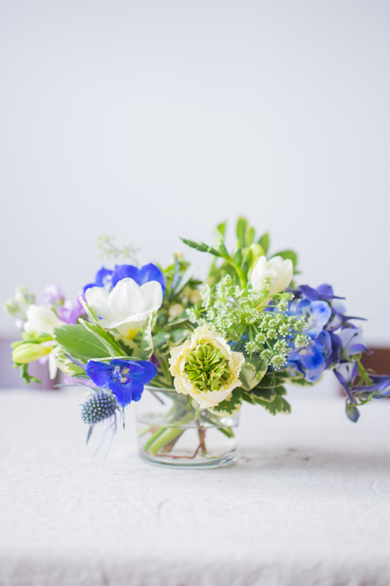 Flower DIY // Delphinium, Ranunculus, Queen Anne's Lace, and Freesia