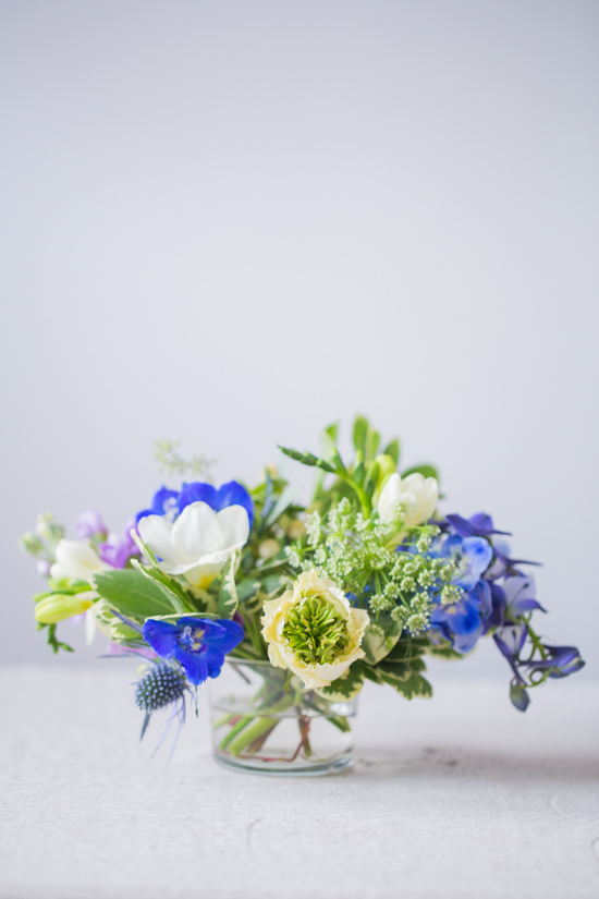 Delphinium, Ranunculus, and Queen Anne's Lace Arrangement