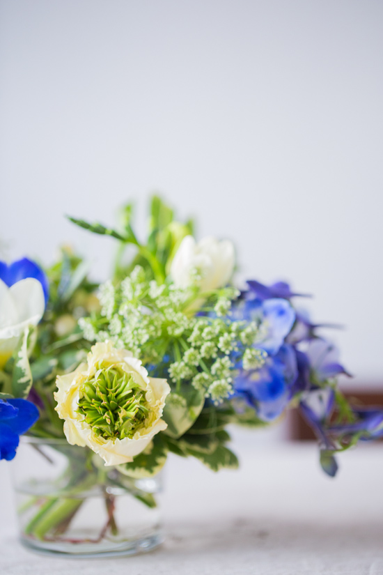 Ranunculus, Delphinium, and Queen Anne's Lace Arrangement