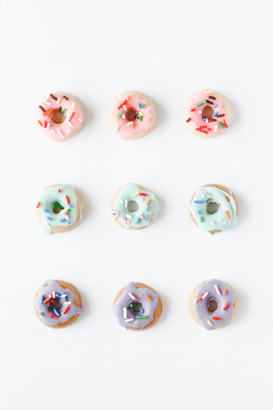 Mini donut candies made of chocolate