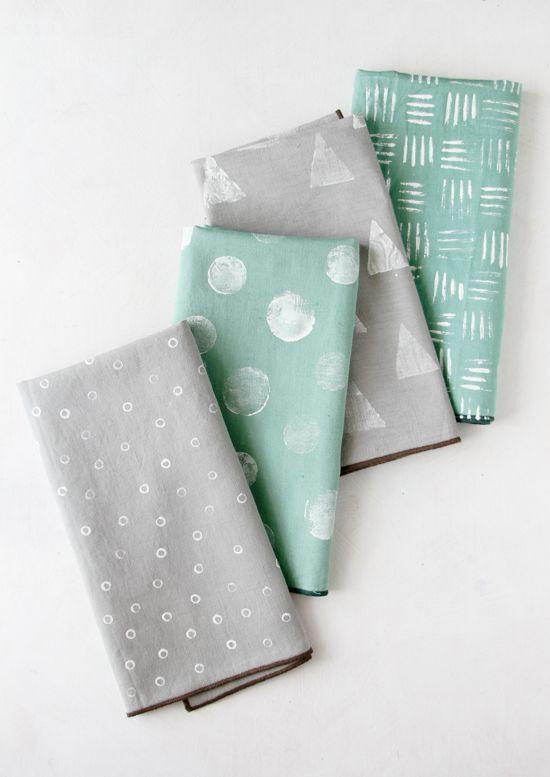DIY Stamped Napkins 4 Ways (with items you already have around the house)