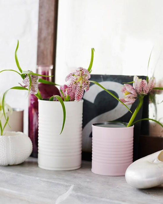 Matte Tin Can Vases
