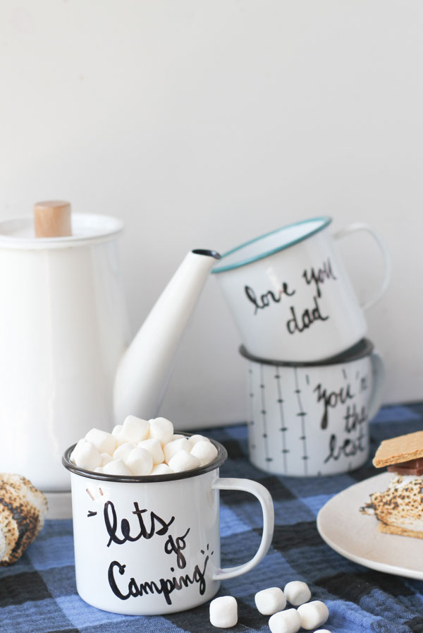 Make This DIY Enamel Camp Mugs For Fall Paper And Stitch