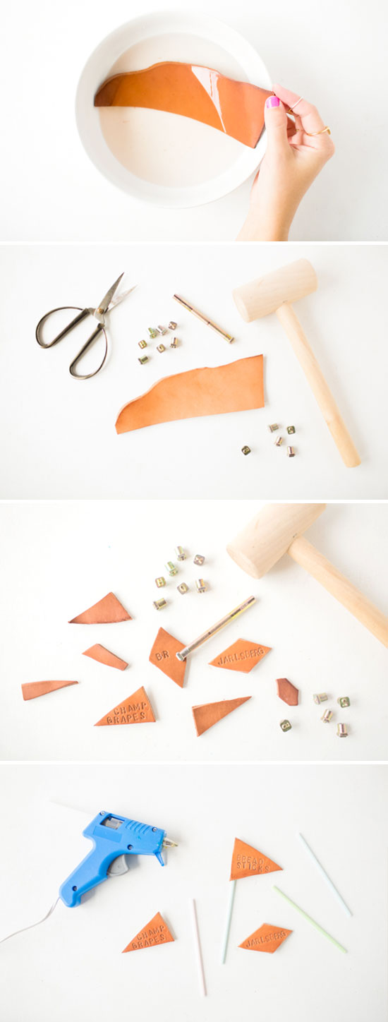 DIY // How To Make Leather Stamped Cheese Markers