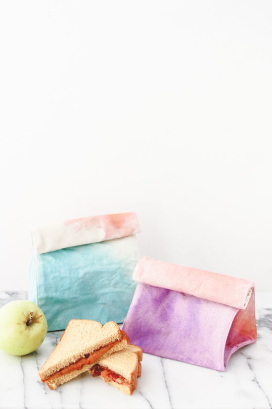 DIY // Watercolor Lunch Bags for Back to School