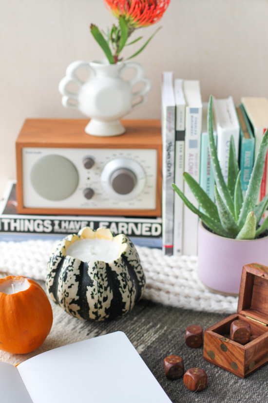 DIY Pumpkin Scented Candles in Hollowed Out Pumpkins