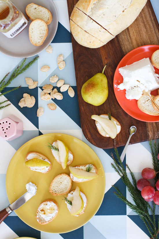 DIY Painted Bread Board + Pear Goat Cheese Crostini Recipe