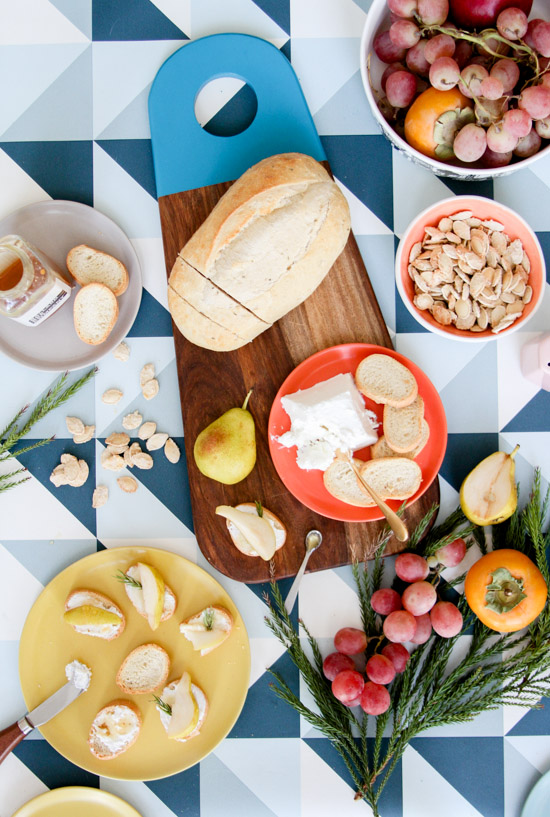 DIY Painted Bread Board + Pear Goat Cheese Crostinis