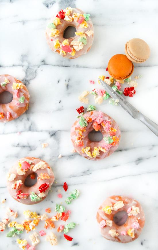 Glazed Donuts with Macaron Sprinkles