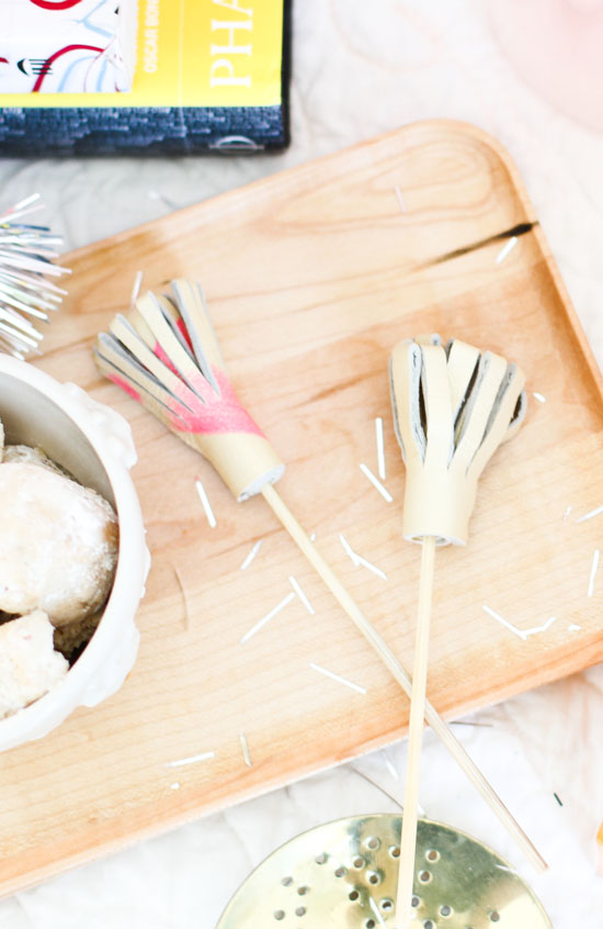 DIY Party Ideas for New Year's Eve // Leather Drink Stirrers