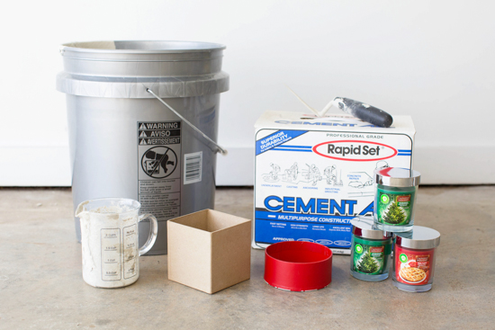 Supplies for DIY Cement Candle Votives