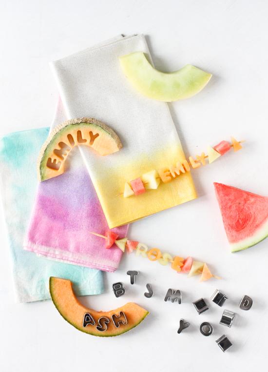 DIY Watercolor Napkins + Nameplate Fruit Skewers