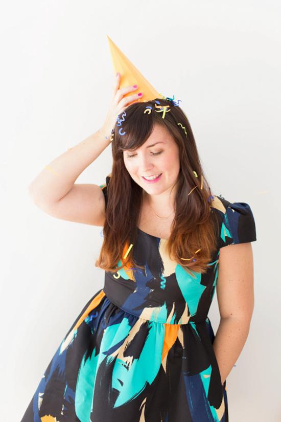 DIY New Year's Confetti + Geo Hat