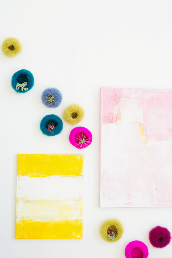 Colorful Artwork + Crochet Air Plant Pods