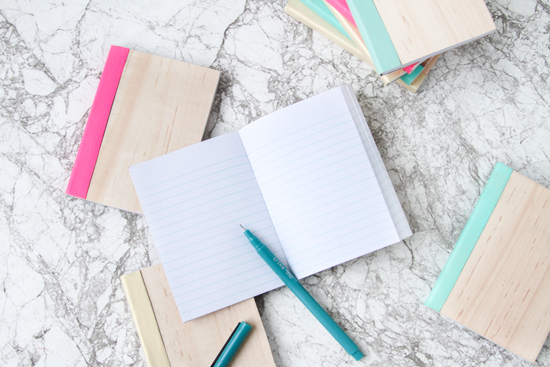 DIY Idea // Leather + Wood Covered Notebooks