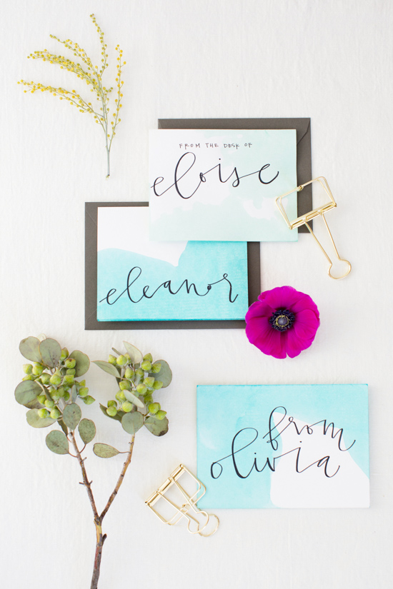 DIY // Dip Dyed Notecard Stationery