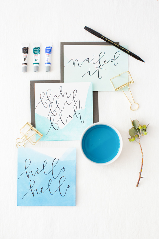 DIY // Dip Dyed Stationery with Hand Lettered Messages