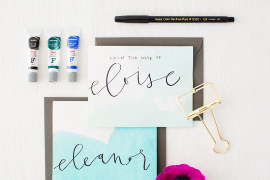 How to make dip dyed stationery