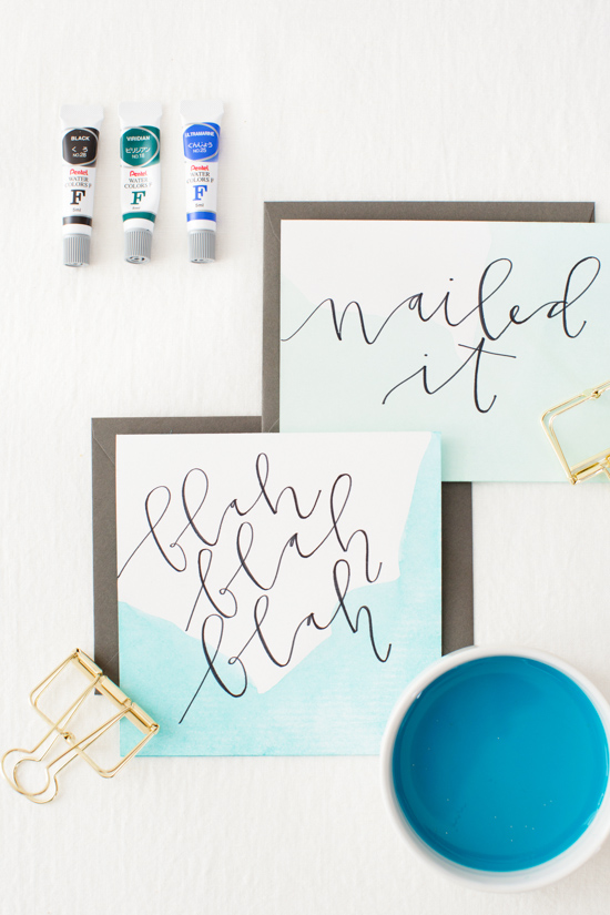 DIY // Dip Dyed Stationery with Hand Lettered Messaging