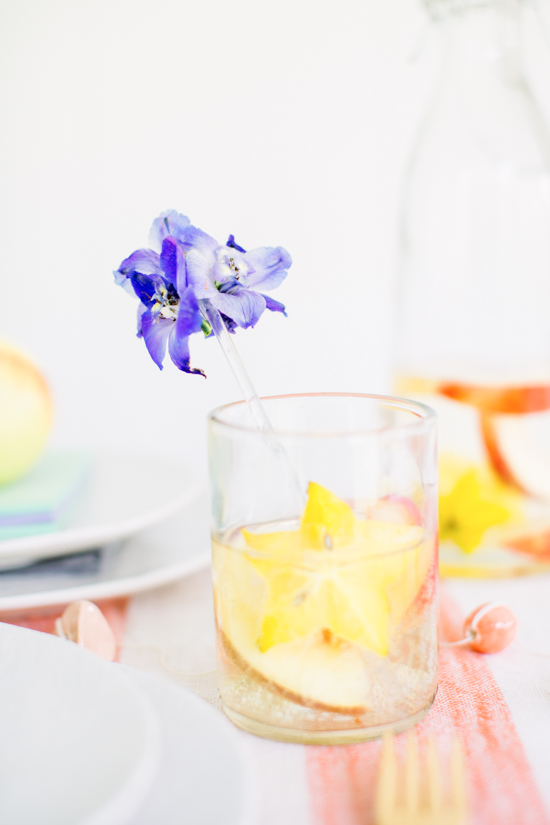 Sangria Blanca Cocktail Recipe + DIY Floral Drink Stirrers