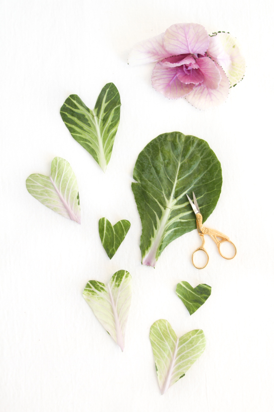 DIY // hearts cut out of kale leaves