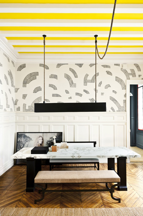 Painted Ceilings + Hand Drawn Walls