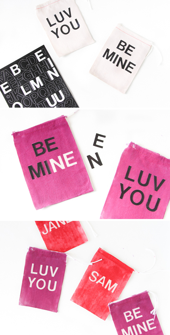 V-Day Fabric Gift Bags Idea