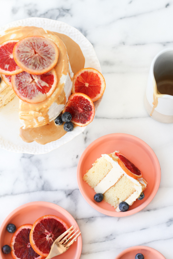 Salted Caramel Drizzle + Blood Orange Cake