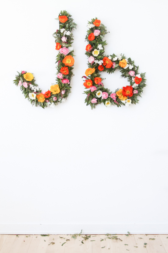 DIY Giant Floral Typography Wall Art