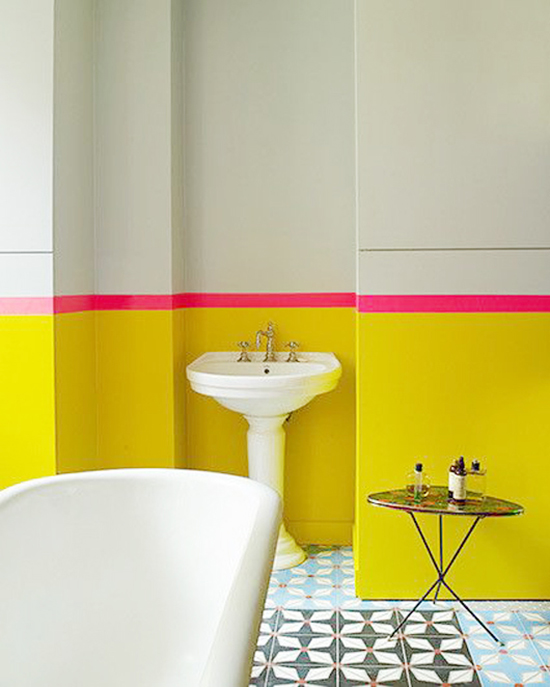 Neon yellow and pink bathroom