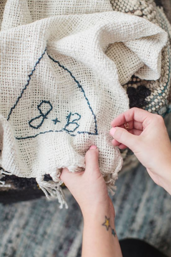 DIY Stitched Blanket Monogram