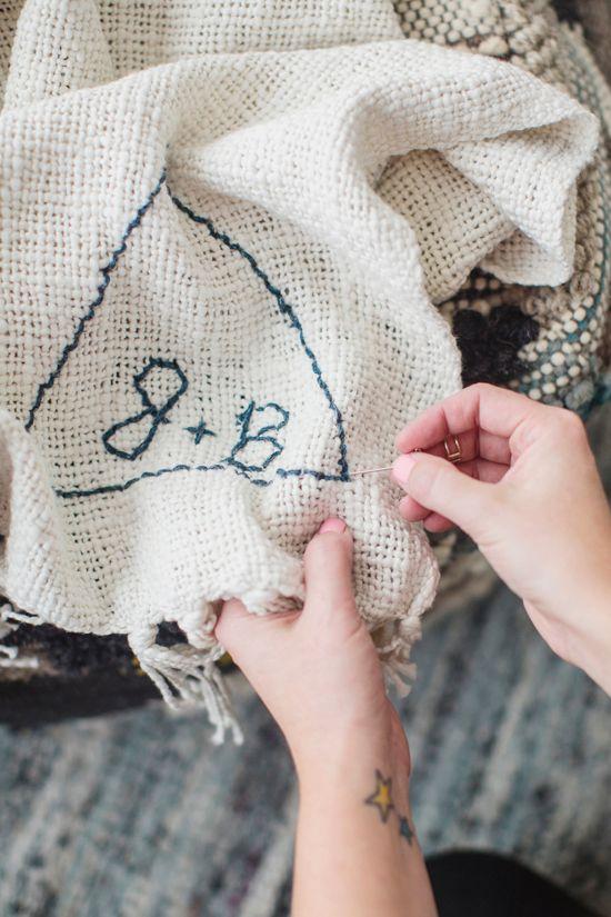 DIY Stitched Blanket Monogram