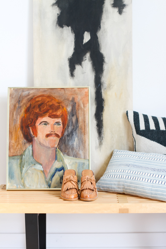 Vintage Leather Mules + Vintage Portrait Painting