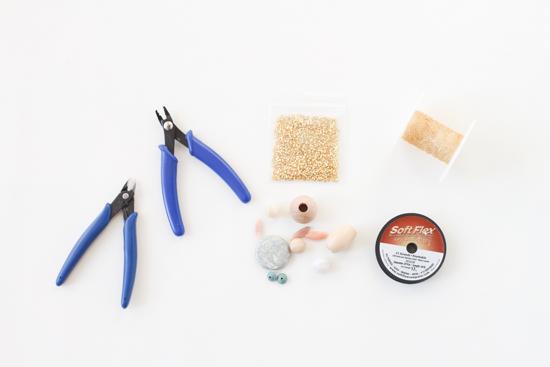 Supplies for DIY Asymmetrical Long Necklace