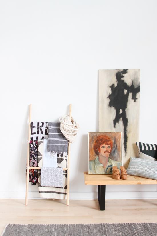 Living Room Inspiration // Nelson Bench + DIY Blanket Ladder