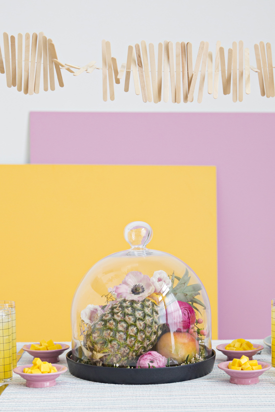 Colorful DIY Party for Spring with Floral Fruit Centerpiece