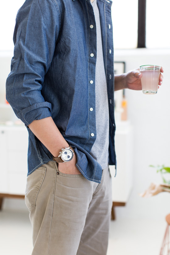 Mens Watch + Chambray Shirt