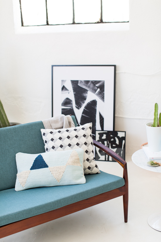 Botanical Art Prints + Mid Century Loveseat