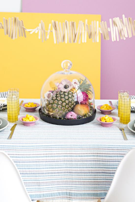 DIY Popsicle Stick Garland + Floral Fruit Centerpiece