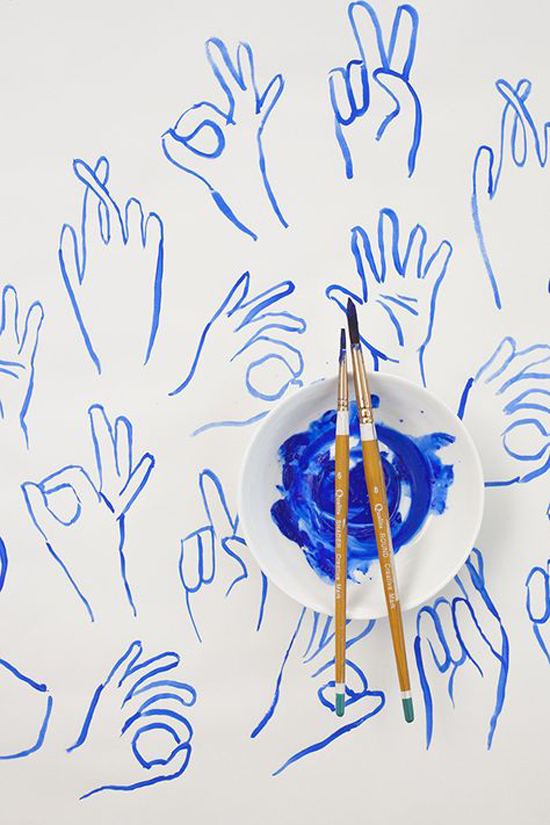 Blue painted hands