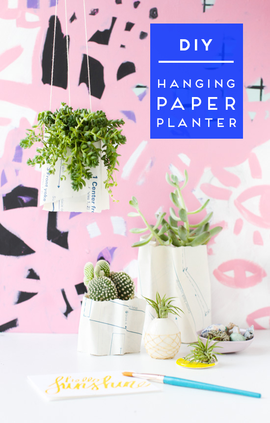 DIY // How to Make Hanging Ripple Planters with Paper