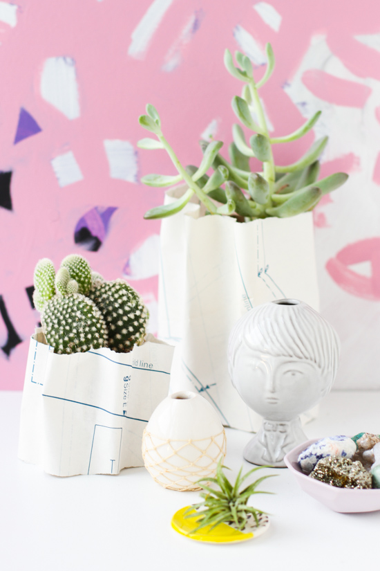 DIY // How to Make Sculptural Ripple Planters with Paper