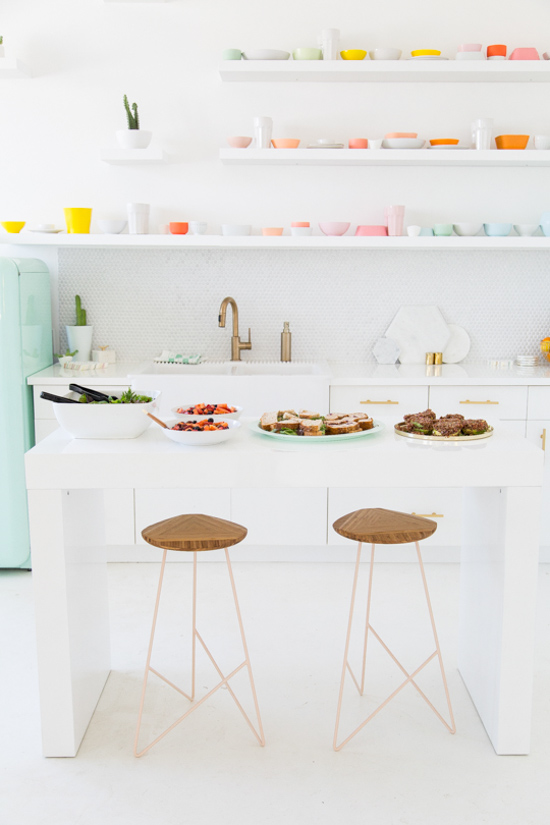 A very colorful kitchenette
