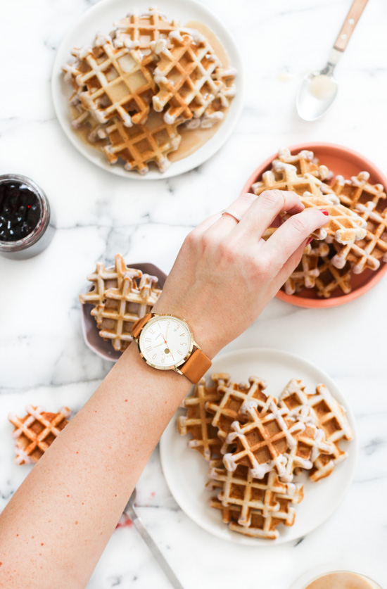 Recipe // Grape Waffles with a Peanut Butter Glaze Syrup for National Peanut Butter and Jelly Day. These waffles and just like a PB & J sandwich, only better.