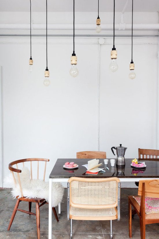 Mismatched chairs at the dining table