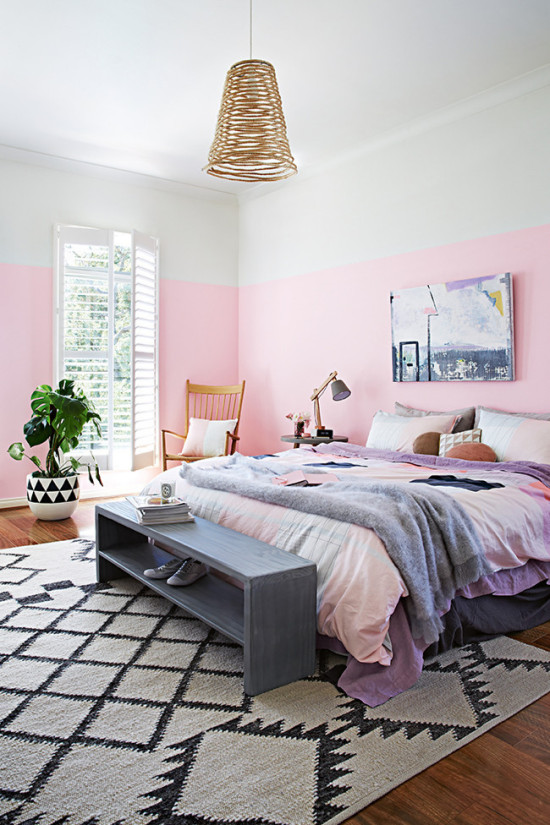Pink Painted Half Wall