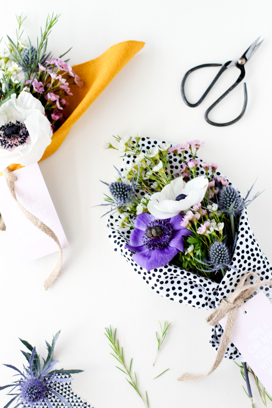 21 Budget-Friendly Mother's Day DIYs to Try Before Sunday // Idea No 10: Fabric Wrapped Bouquet