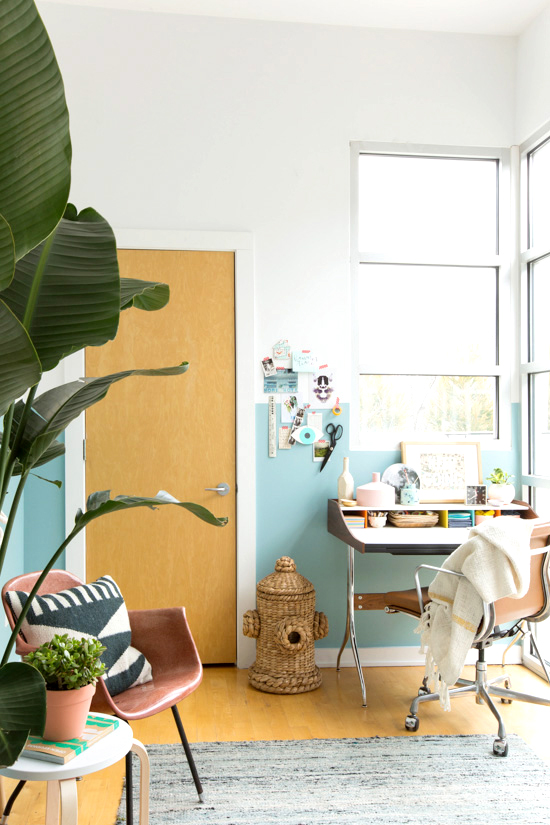Blue Painted Half Wall Office Space