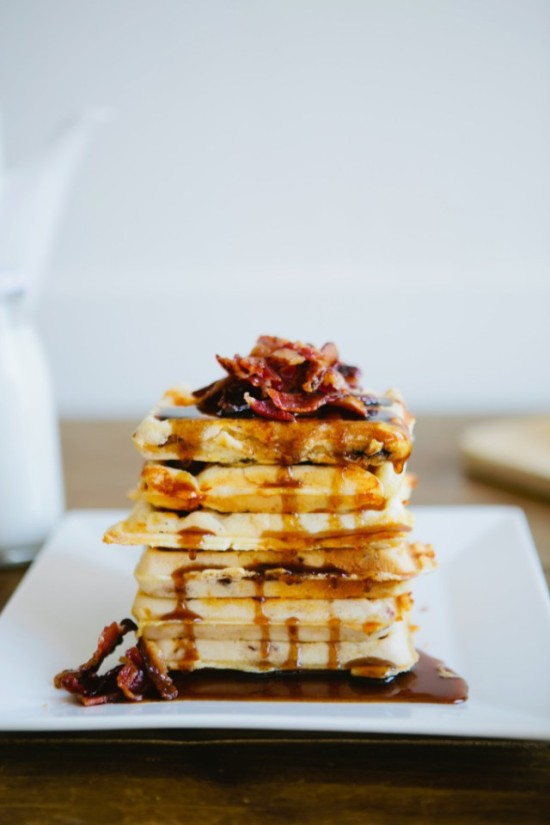 Bacon cheddar waffles with maple bacon syrup