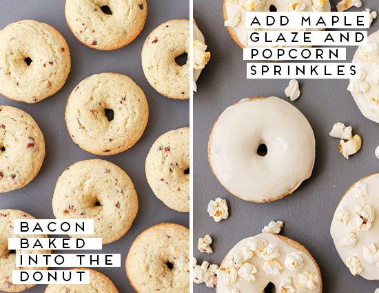 Maple Glazed Bacon Donuts with Popcorn Sprinkles